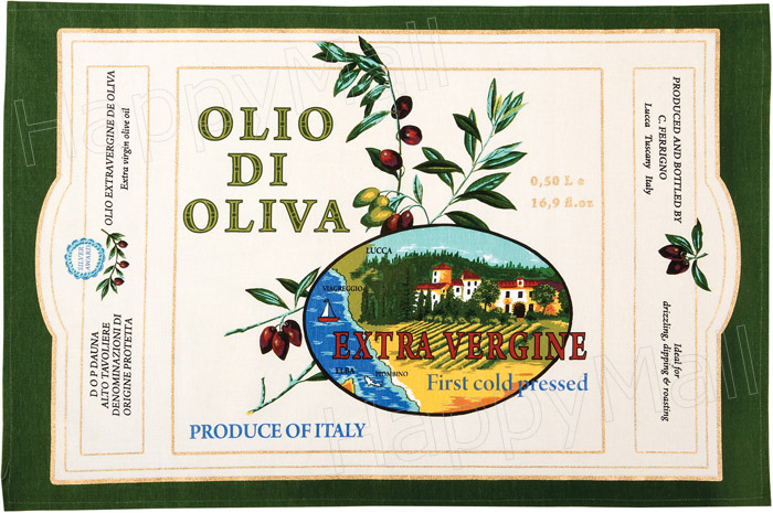 Cotton Tea Towel Olive Oil Label