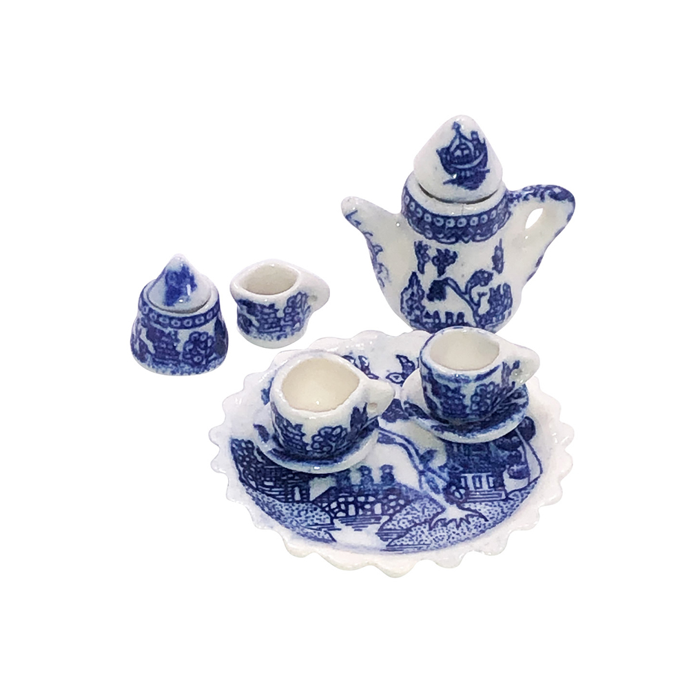 Blue Willow Ware Miniature 10 Piece Collectors Tea Set, 1.5D Tray
