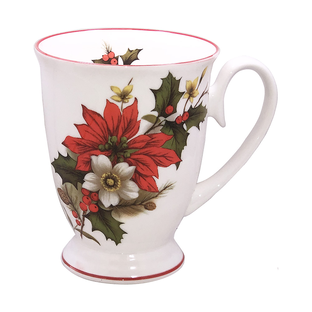 Poinsettia Footed Mug, Red