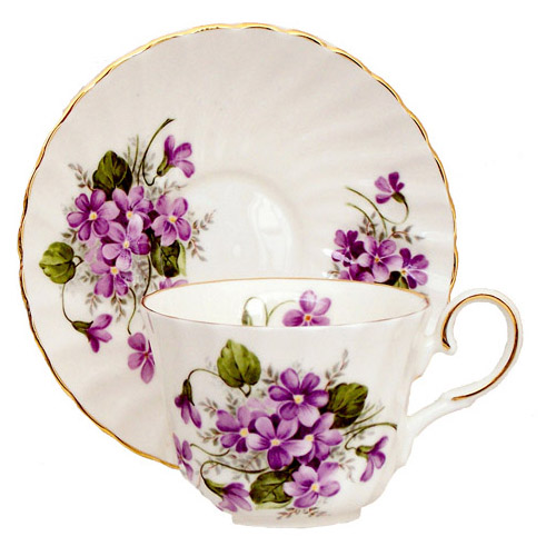 Tea Cup and Saucer, Violets
