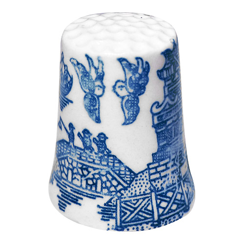 Blue Willow Porcelain Thimble