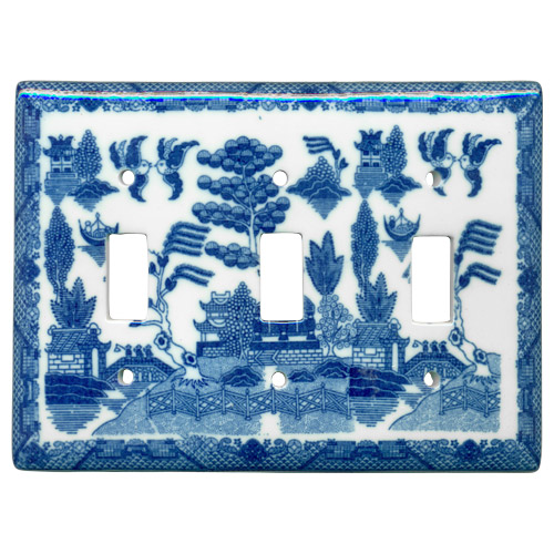 Blue Willow Ware - Electric Cover for 3 Switches