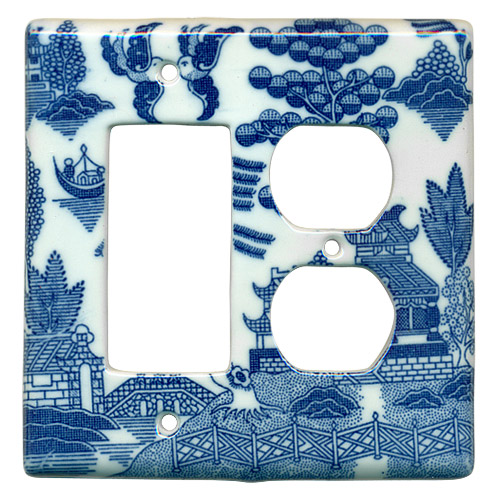 Blue Willow Ware Electric Cover Plate