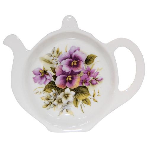 Bone China Tea Bag Tidy Pansy