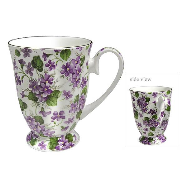 Violet Swirl Footed Bone China Mug