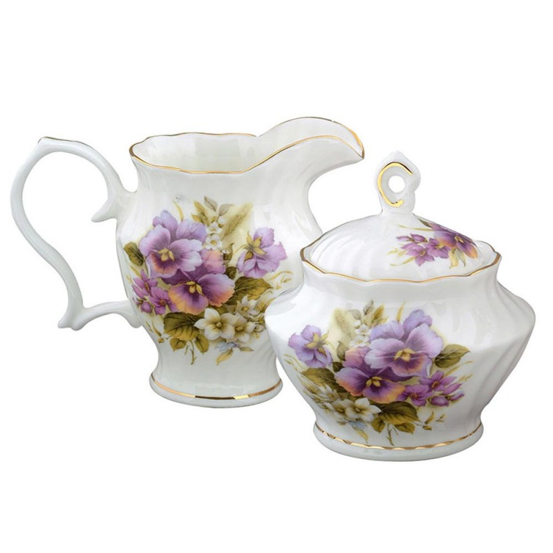 Pansy Cream & Sugar Set