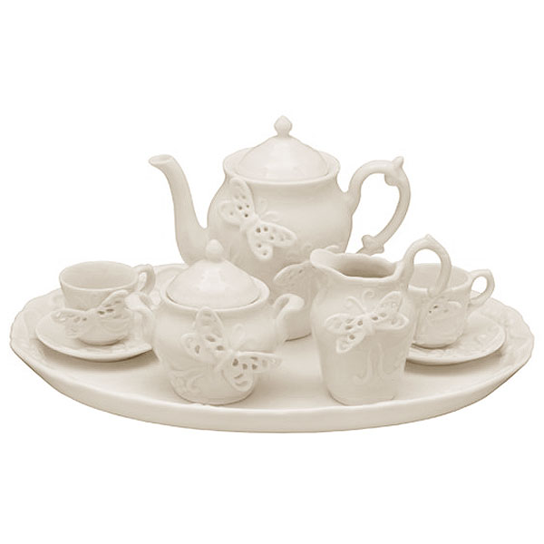 White Butterflies Porcelain Kids Tea Set