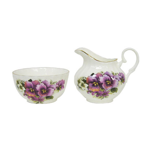 Staffordshire Pansy Flowers Cream & Sugar Set