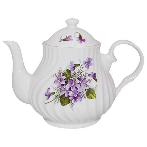 Wild Violet 4 Cup English Teapot By Crown Trent