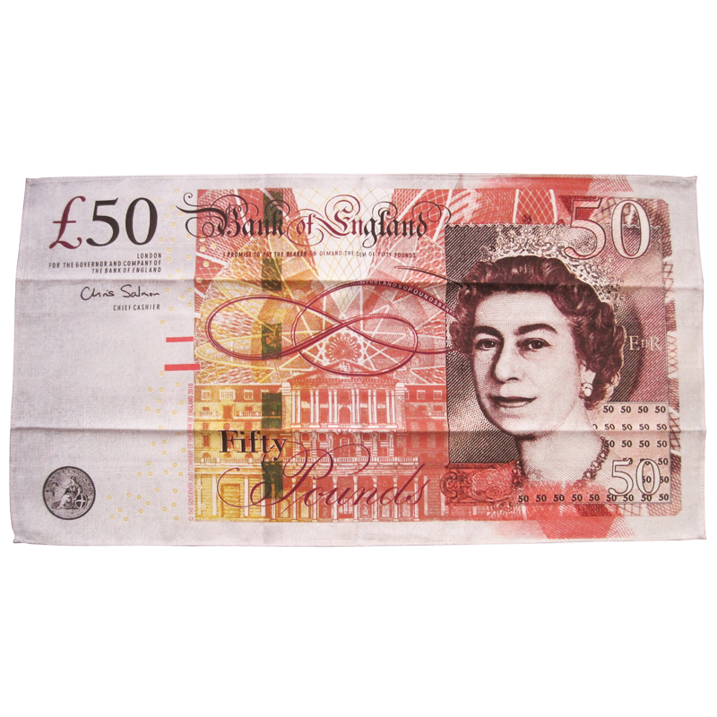 Bank of England 50 Pound Note Tea Towel