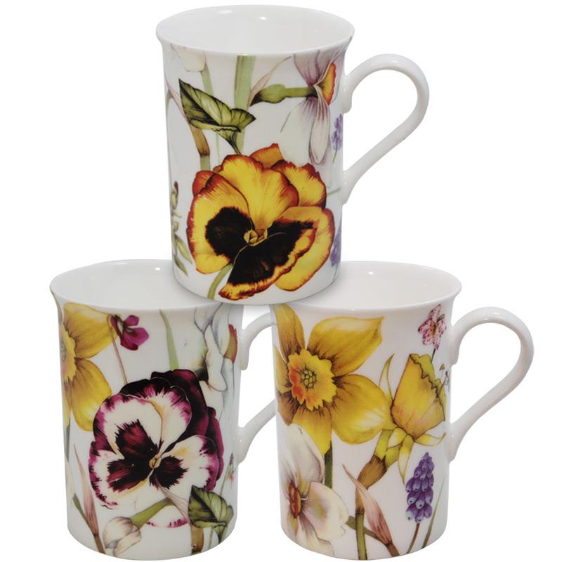 Pansy China Mug Set By Stechcol For Heath Mccabe