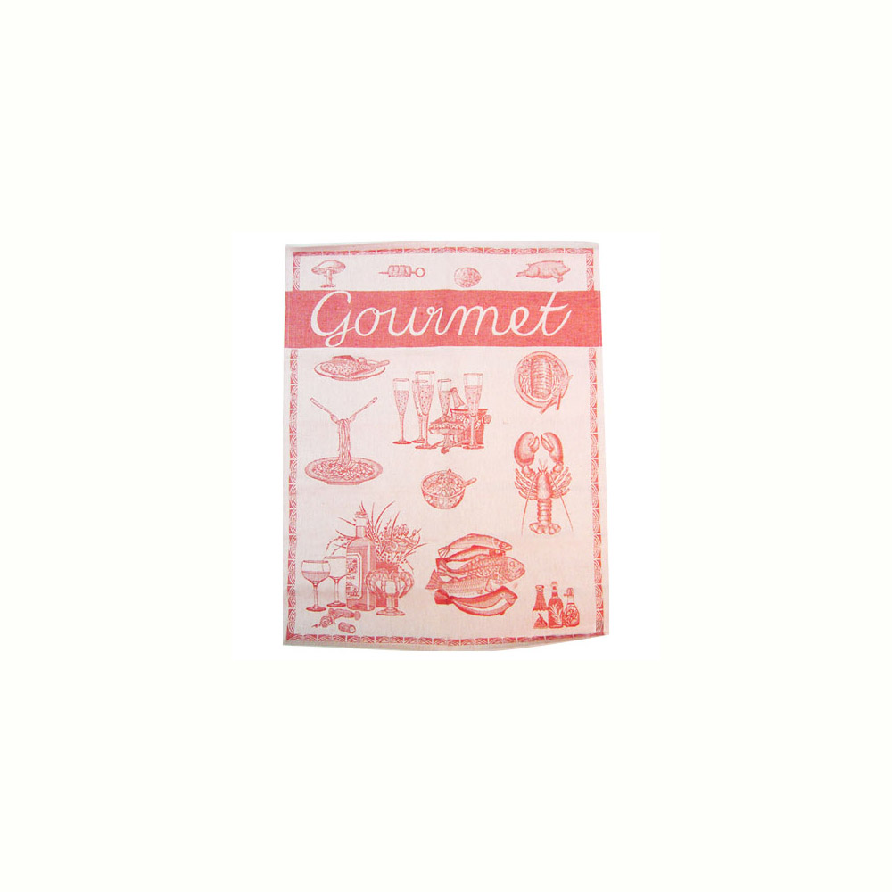 French Jacquard Kitchen/Tea Towel - Red Gourmet