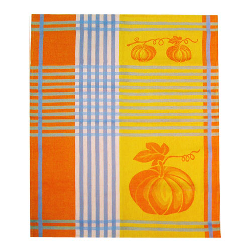French Jacquard Kitchen/Tea Towel - Pumpkin Blue