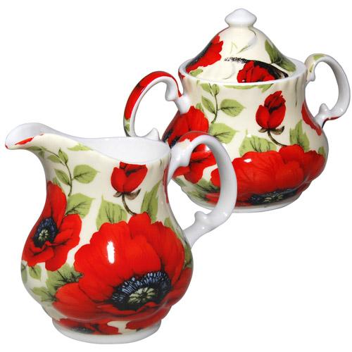 Red Poppy Cream And Sugar Set