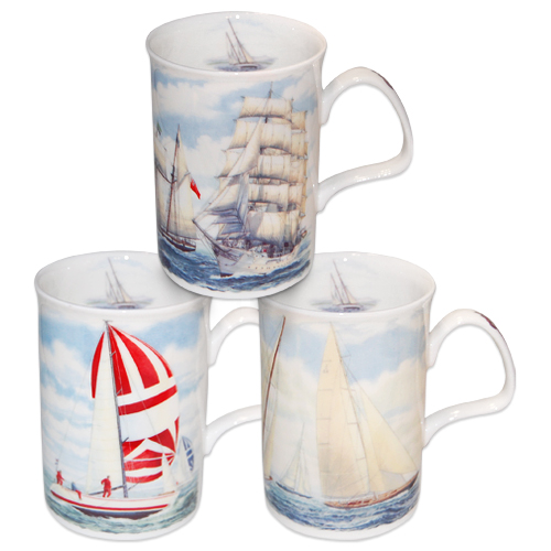 Sailboats Fine Bone China Mugs Set Of 3