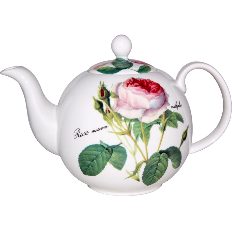 Redoute Rose Teapot, 6-cup