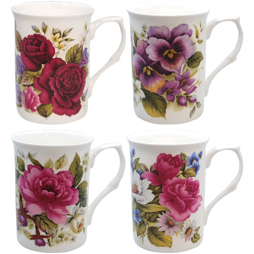 Summer Garden Bone China Mugs Gift Set Of 4