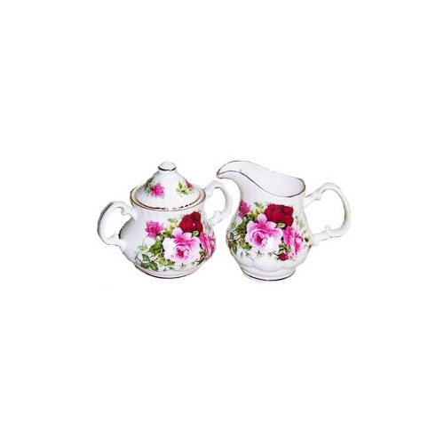 Covered Cream and Sugar Set - Summertime Rose