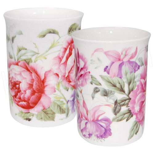Peony Floral Tea Mug - Set of 2
