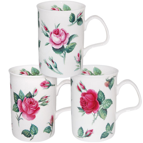 Malmaison Rose Mug, Set of 3