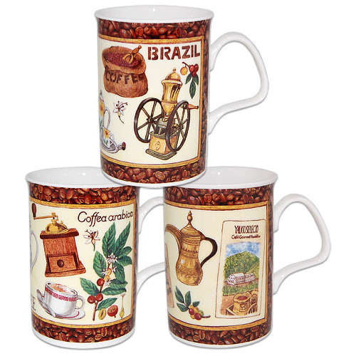 English Coffee Mugs Fine Bone China In Set Of 3 Mugs
