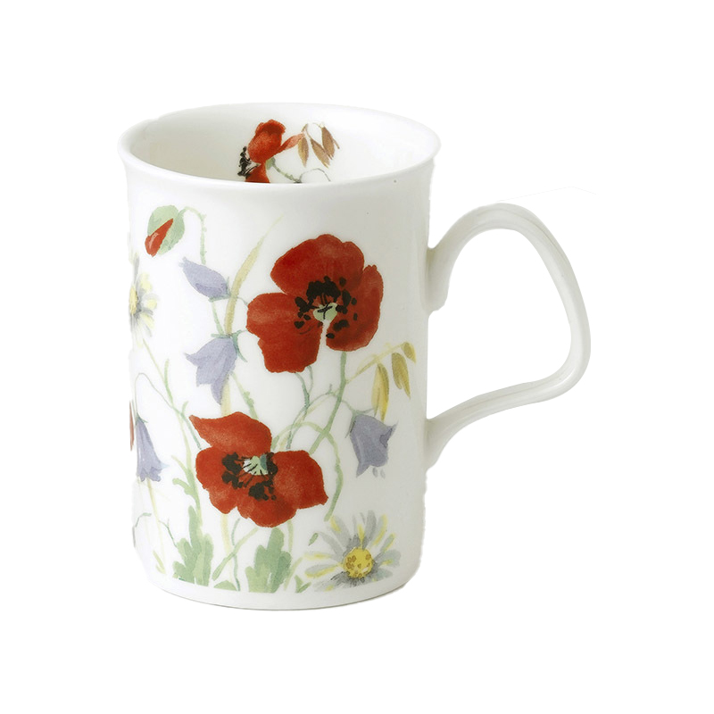 Classic poppy flowers bone china mug red mightylinksfo