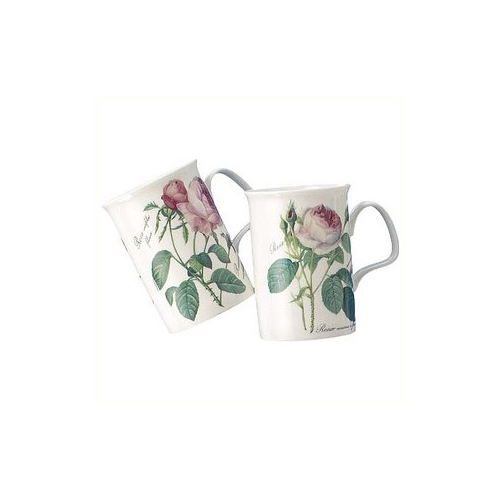 Redoute Rose Mugs, Set of 2
