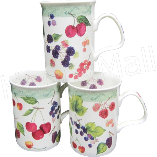 Cherries & Berries, Set of 3 Mugs