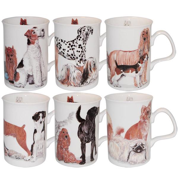Dogs Galore Animal Bone China Mugs Set Of 6