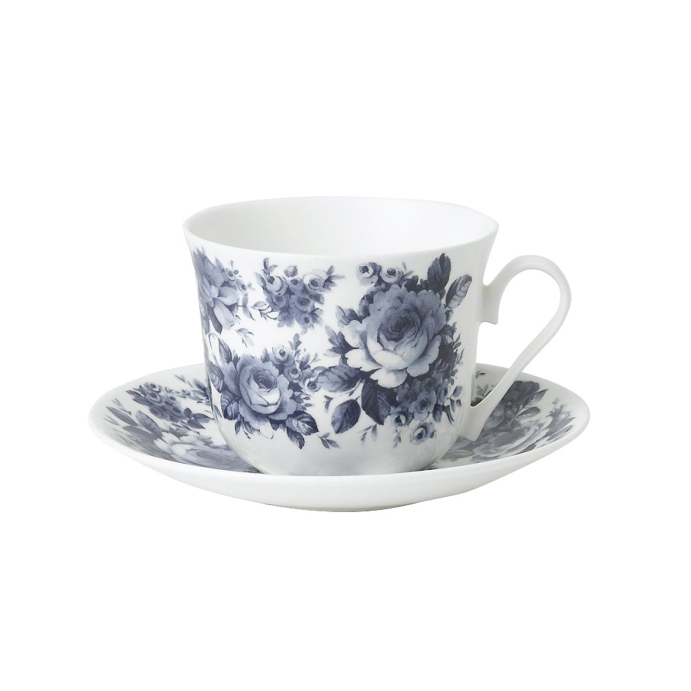 English Blue Chintz Breakfast Cup and Saucer