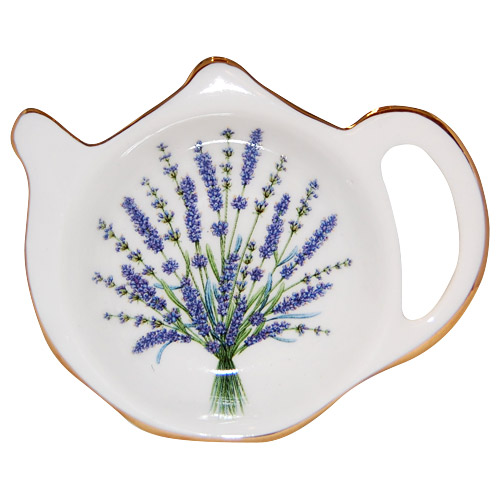 Bone China Tea Bag Tidy, Lavender Bouquet