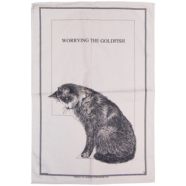 Worrying About Goldfish, Cotton Tea Towel
