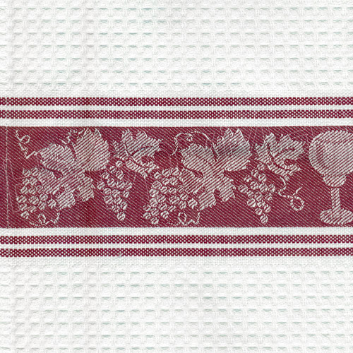 Grapes and Wine Cotton Kitchen Towel - Burgundy