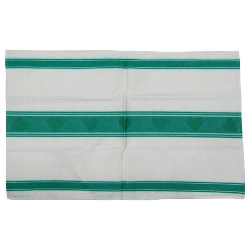 Hearts Cotton Kitchen Towel Green