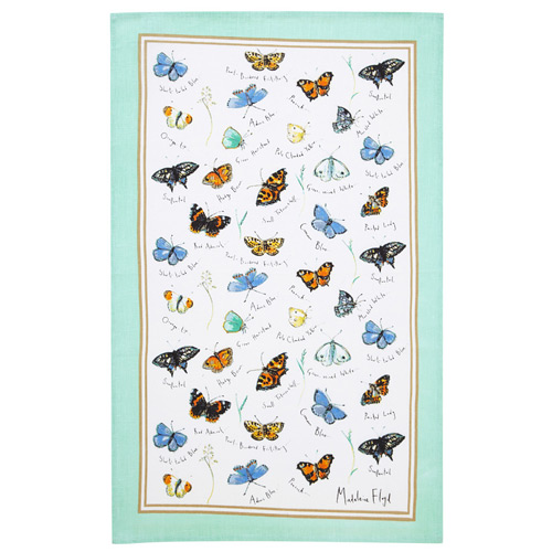 Butterflies Linen Tea Towel