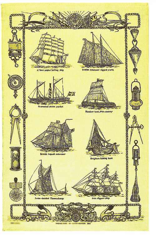 Sailing Ships Linen Tea Towel