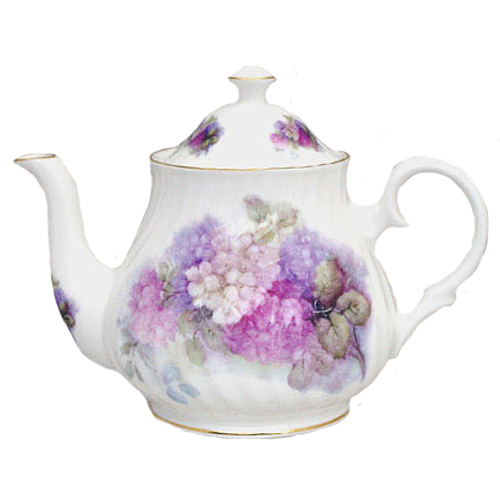 Hydrangea Bone China Teapot 6 Cup
