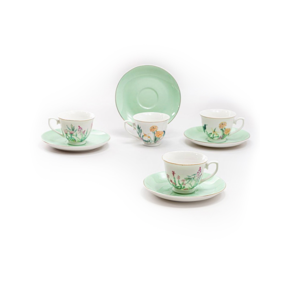 Cup & Saucer Sets for Girls - Wildflowers of the Valley, Set of 4