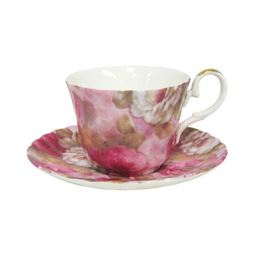 Cup and Saucer, Love Rose Chintz