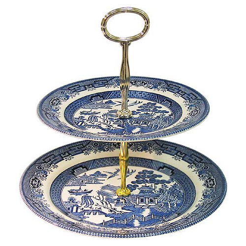 Churchill Blue Willow Ware 8; u0026 10; Two-Tier Cake Stand  sc 1 st  English Teapots & Churchill Blue Willow Ware 8