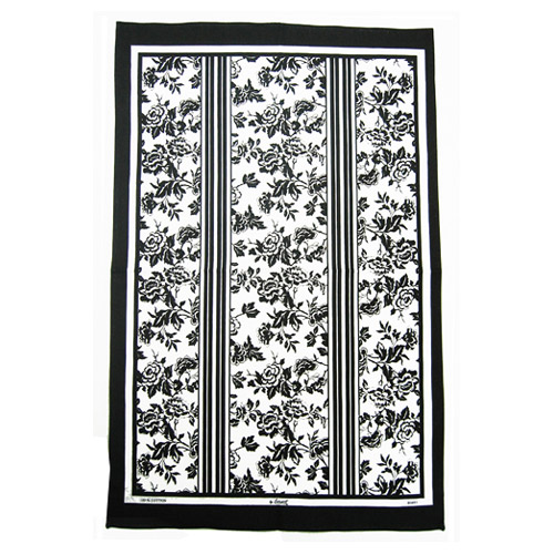 Oxford Floral Black and White, Tea Towel