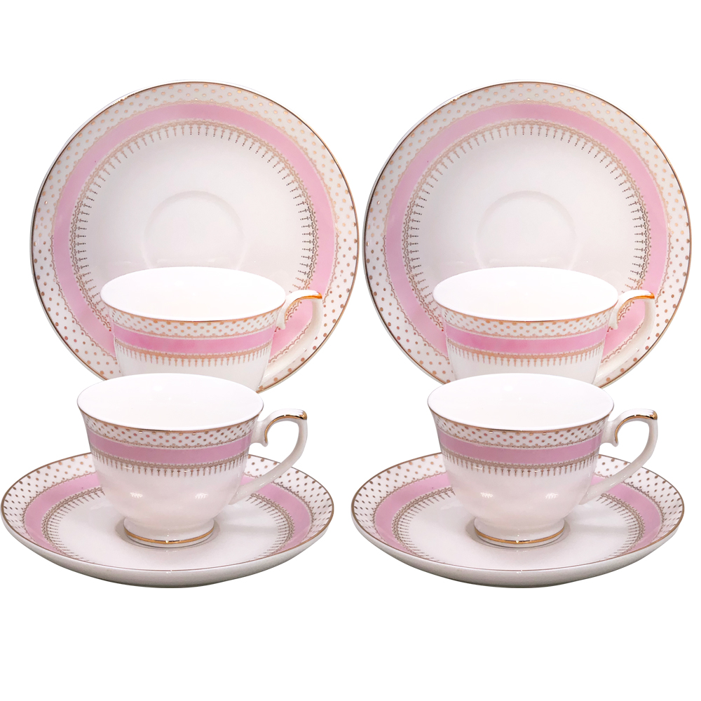 Small 3-Ounce Cup & Saucer Sets - Pink/Gold, Set of 4