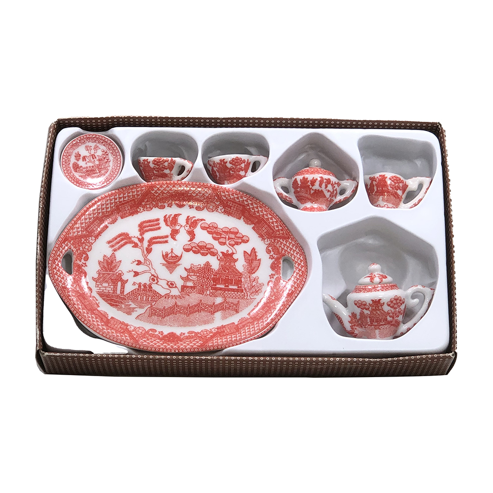 Pink Willow Miniature 10 Piece Collectors Tea Set, 4-3/8L Tray