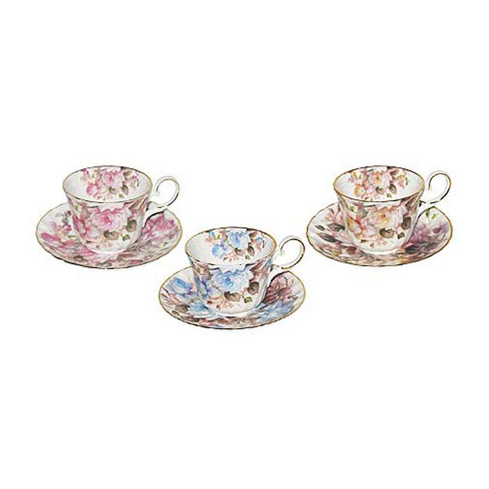 Sorrento Rose - Bone China Tea Cups and Saucers, Assorted Set of 3