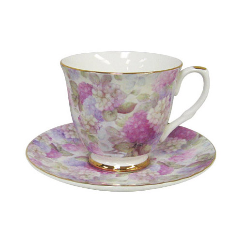 Hydrangea Chintz - Bone China Tea Cup and Saucer