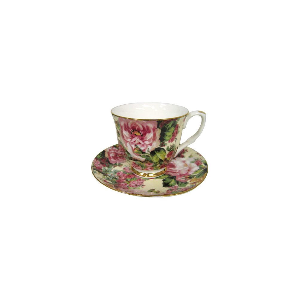 Cottage Rose Chintz - Bone China Tea Cup and Saucer