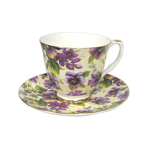 Pansy Chintz - Bone China Tea Cup and Saucer