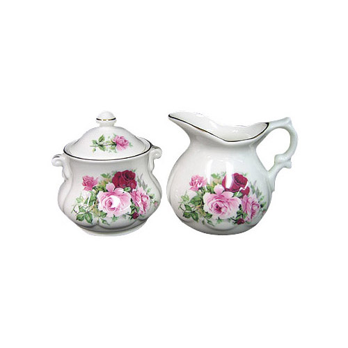 David Michael, Covered Cream and Sugar Set - Summertime Rose