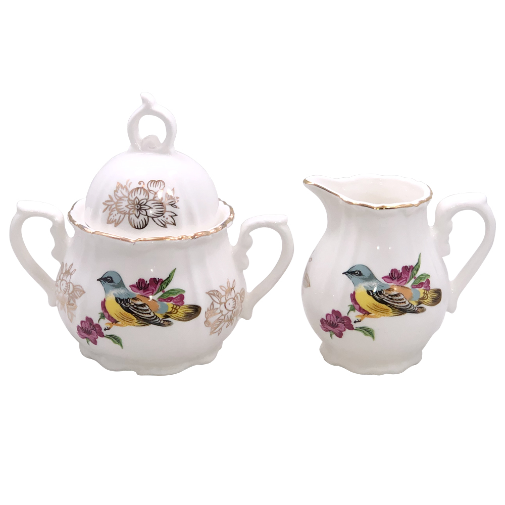 Small Cream and Sugar Set, Spring Bird