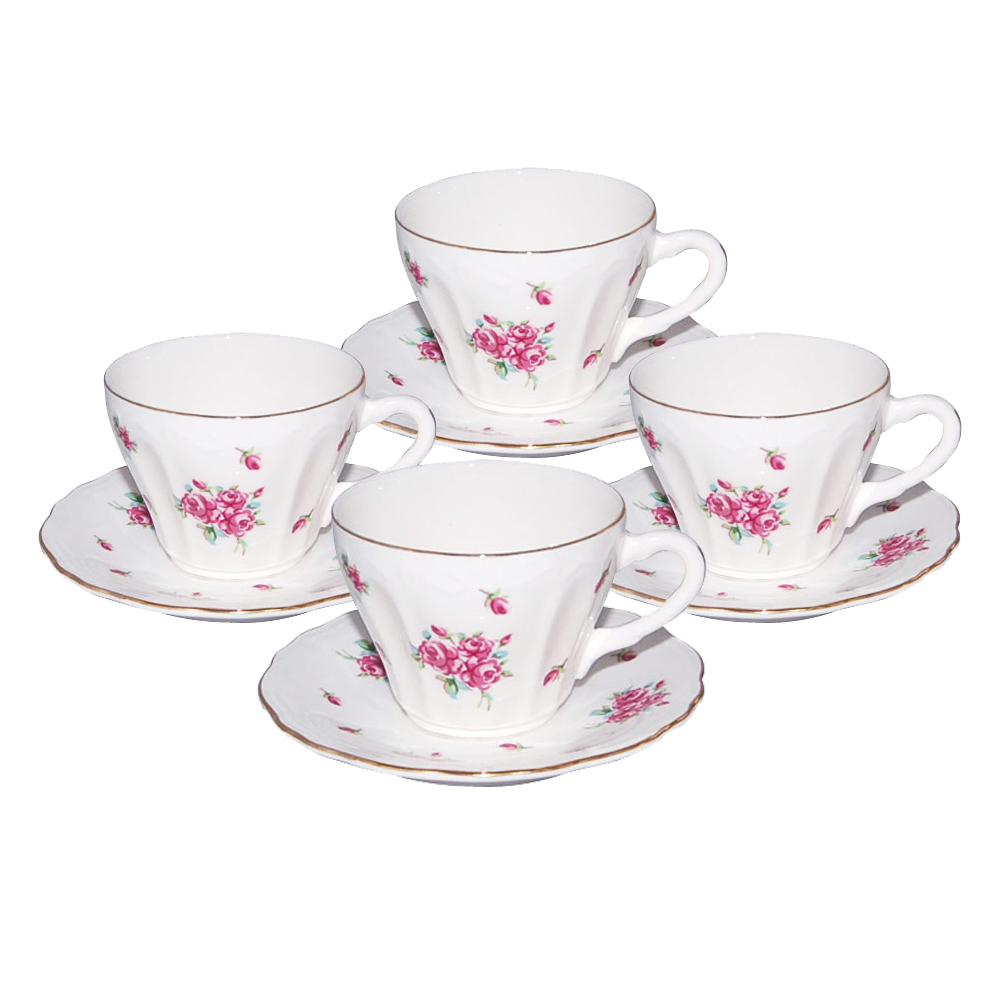 Small 3-Ounce Cup & Saucer Sets - Pink Rose, Set of 4